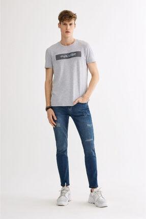 Avva Erkek Gri V Yaka Gofre Baskılı T-shirt A01y1024 3