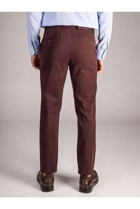 Dufy Bordo Büyük Beden Düz Sık Dokuma Erkek Pantolon - Battal 2