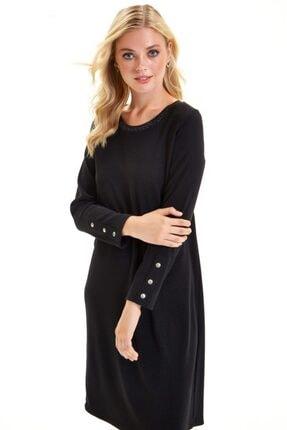 İkiler Yakası Trikobantlı Kolu Çıtçıtlı Jorjet Elbise 201-2501 3