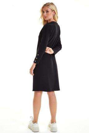 İkiler Yakası Trikobantlı Kolu Çıtçıtlı Jorjet Elbise 201-2501 4