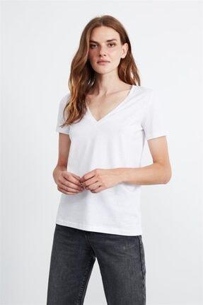 GRIMELANGE Paısley Kadın Beyaz V Yakalı Kısa Kollu T-shirt 1