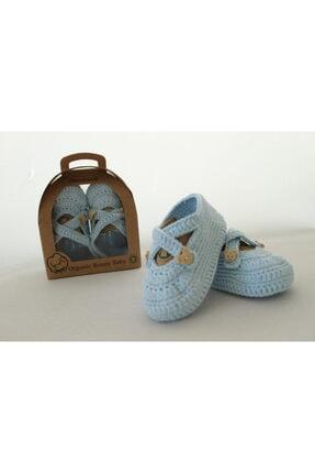 Organic Bonny Baby Mavi Organik Bebek Patiği El Yapımı Bebek Hediyesi Bebek Patik 0