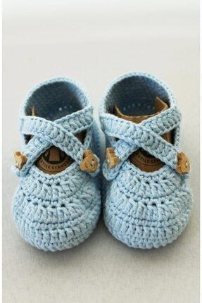 Organic Bonny Baby Mavi Organik Bebek Patiği El Yapımı Bebek Hediyesi Bebek Patik 1