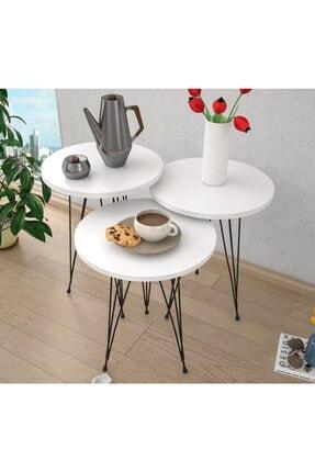 Haus Modüler Zigon Sehpa Metal Ayak 3lü Servis Sehpası Oval Beyaz 0