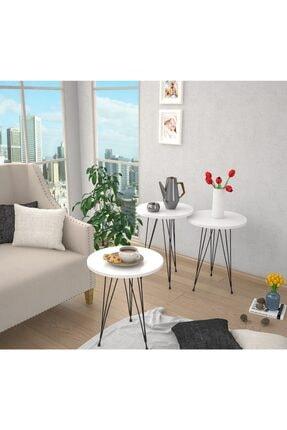 Haus Modüler Zigon Sehpa Metal Ayak 3lü Servis Sehpası Oval Beyaz 1