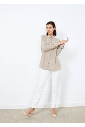 Adze Kadın Vizon Düğmeli Şık Gömlek Vızon L 3