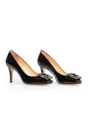 Flower Siyah Kare Tokalı Kadın Topuklu Ayakkabı 1