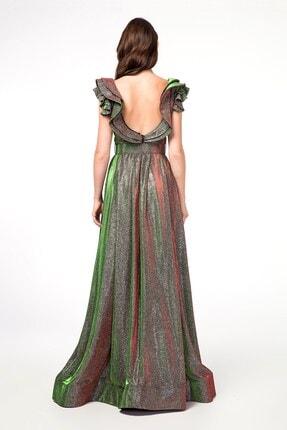 Abiye Sarayı Yeşil Kemer Detaylı Kolları Volanlı Uzun Abiye Elbise 3