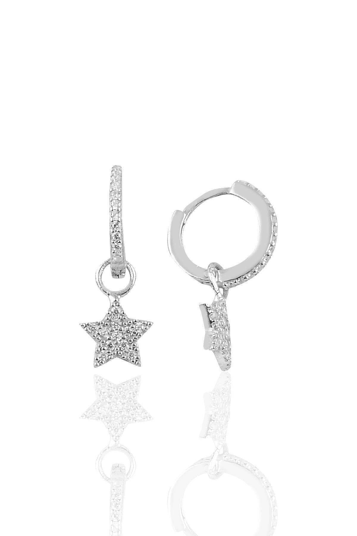 Gümüş Yıldız Modeli Taşlı Halka Küpe