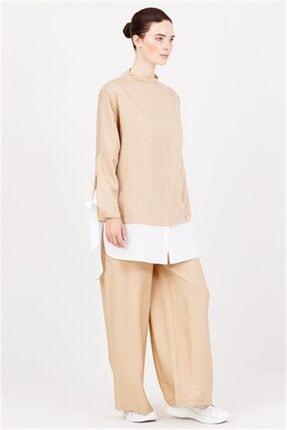 Ghisa Beyaz Koton Detaylı Tunik Pantolon Takımı Camel 0