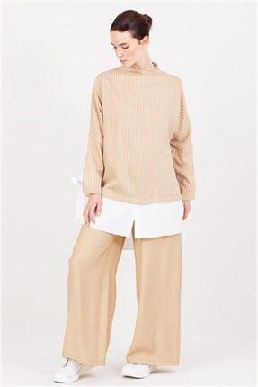 Ghisa Beyaz Koton Detaylı Tunik Pantolon Takımı Camel 1