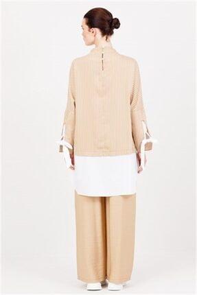 Ghisa Beyaz Koton Detaylı Tunik Pantolon Takımı Camel 2