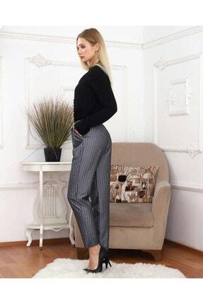 KaSheHa Kadın Antrasit Micro Dabıl Kumaş Cepli Kuşaklı Pantolon 2