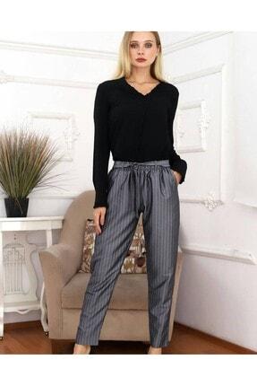 KaSheHa Kadın Antrasit Micro Dabıl Kumaş Cepli Kuşaklı Pantolon 4
