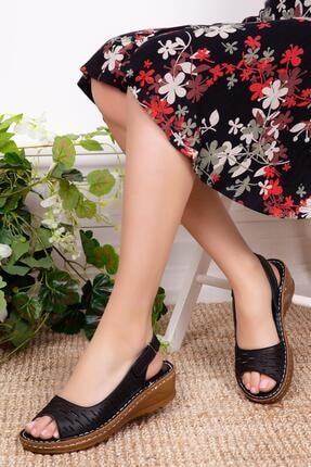Deripabuc Hakiki Deri Siyah Kadın Deri Sandalet Dp16-0600 0