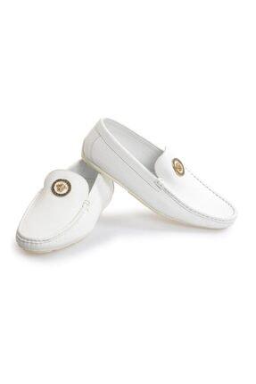 Flower Beyaz Deri Toka Detaylı Loafer Ayakkabı 3
