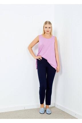 Adze Kadın Lacivert Klasik Kesim Boru Paça Pantalon Laci 40 1