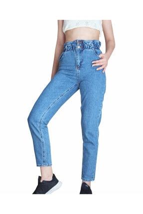 Mavi Beli Büzgülü Yüksek Bel Mom Jeans T0001