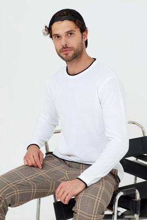 Tarz Cool Erkek Beyaz Etek Parçalı Triko Kazak 0