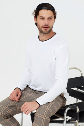 Tarz Cool Erkek Beyaz Etek Parçalı Triko Kazak 1