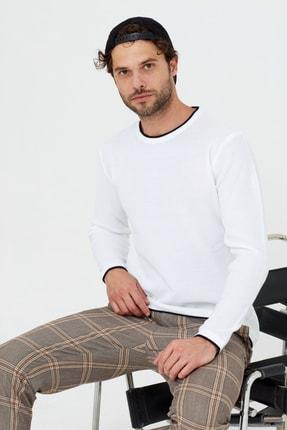 Tarz Cool Erkek Beyaz Etek Parçalı Triko Kazak 4