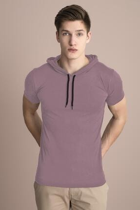 Tena Moda Erkek Pudra Kapüşonlu Düz Tişört 0