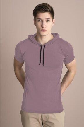 Tena Moda Erkek Pudra Kapüşonlu Düz Tişört 1