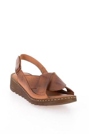 Bambi Hakiki Deri Taba Kadın Sandalet L0529001803 2