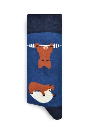 iconsocks Unisex Soket Plates Yapan Ayı Desenli Tasarım Çorap 2