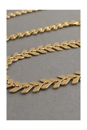 X-Lady Accessories Happy Balık Sırtı Zincir Tasma Kolye Gold 3