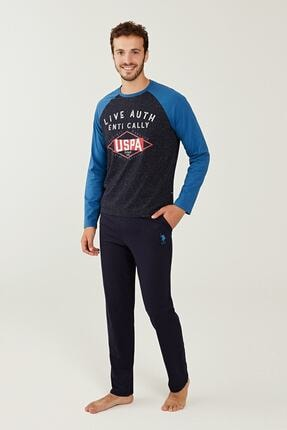 US Polo Assn Erkek Sax Yuvarlak Yaka Pijama Takım 18241 0