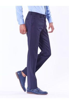Dufy Lacivert Düz Bez Ayağı Dokuma Kumaş Erkek Pantolon - Regular Fıt 2