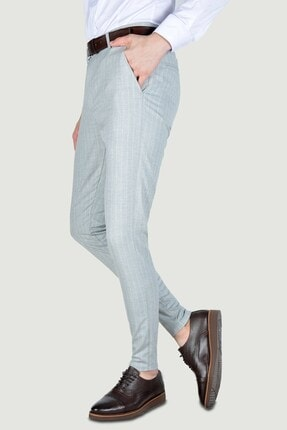 Terapi Men Erkek Çizgi Desenli Slim Fit Keten Pantolon 20y-2200268 Gri 1