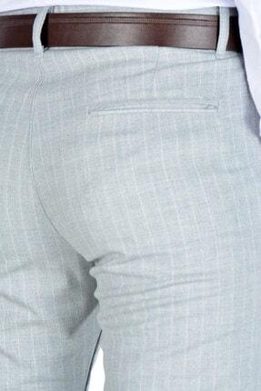 Terapi Men Erkek Çizgi Desenli Slim Fit Keten Pantolon 20y-2200268 Gri 3