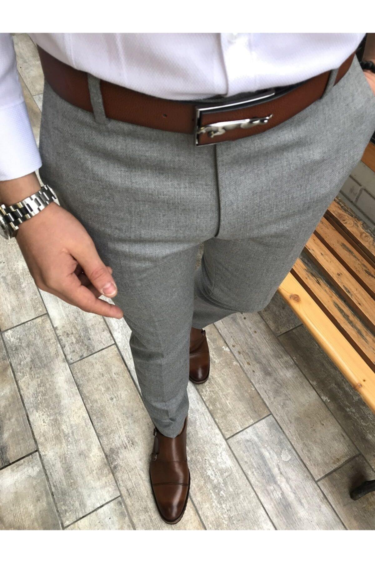 Italyan Stil Slim Fit Erkek Kumaş Pantolon Gri T4254