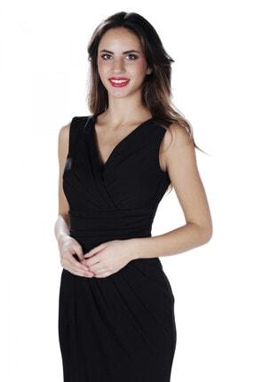 CARMEN Siyah Sandy Yırtmaçlı Uzun Abiye Elbise 1