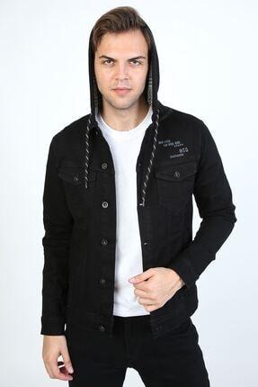 تصویر از Erkek Baskı Detay Kapüşonlu Siyah Kot Ceket