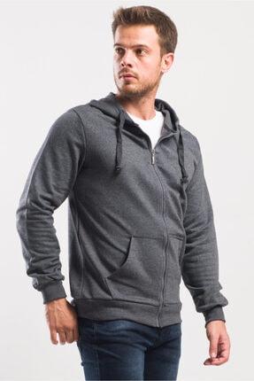caddecity Düz Fermuarlı Kapş. Kanguru Cep Detay Sweatshirt 1