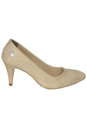 Mammamia 3710 Bej Süet Stiletto Klasik Ayakkabı 0