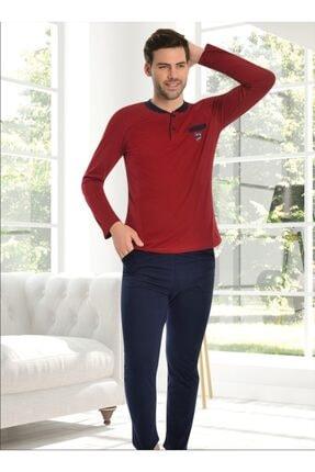 Ars Erkek Bordo Uzun Kol Düğmeli Bisiklet Yaka Pijama Takımı 0