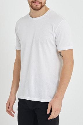 XHAN Beyaz Basic Bisiklet Yaka T-shirt 1kxe1-44489-01 0