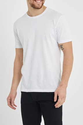XHAN Beyaz Basic Bisiklet Yaka T-shirt 1kxe1-44489-01 2