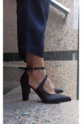 DS AYAKKABI Siyah Saten Modelli Kadın Stiletto 0