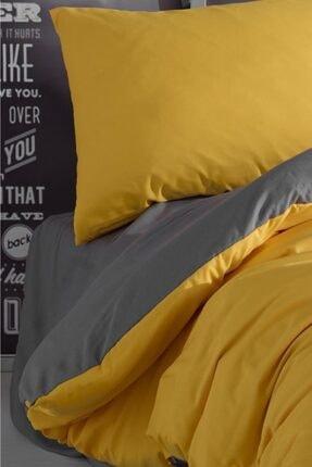 LadyModa Yellow&grey Çift Kişilik %100 Pamuk Nevresim Takımı 3