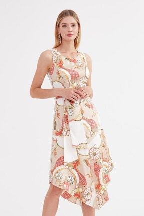 Journey U Yaka Elbise - Etek Altı Asimetrik, Belden Kuşaklı Kolsuz 4