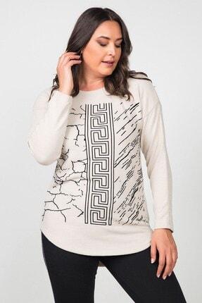 Womenice Kadın Ekru Pamuklu Labirent Flok Basklı Büyük Beden Bluz 2