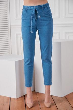 DELICHA Kadın Kuşaklı Mavi Jean 733 2