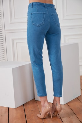 DELICHA Kadın Kuşaklı Mavi Jean 733 4