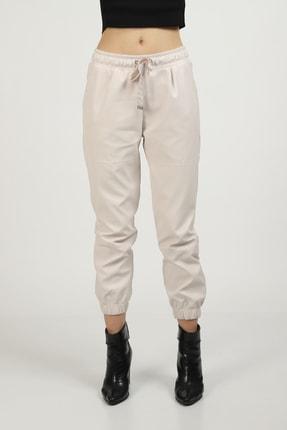 MOGS Paçası Lastikli Parça Detaylı Deri Pantolon 0