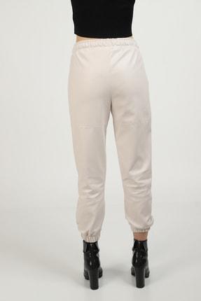MOGS Paçası Lastikli Parça Detaylı Deri Pantolon 3